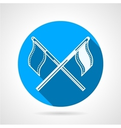 Crossed sport flags round icon vector