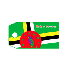 Dominica flag on price tag with word made in vector