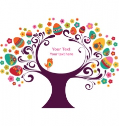 Easter eggs on tree vector image vector image