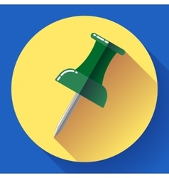 Flat Push pin icon vector image vector image