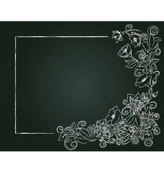 floral card hand drawn chalk flowers and leaves on vector image