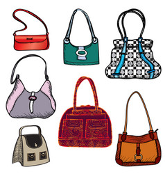 handbags fashion bag set female purse accessory vector image vector image