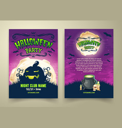 happy halloween party invitation template vector image