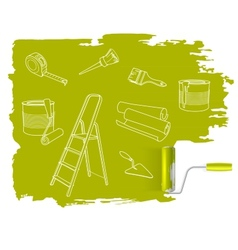 Home repair concept sketched drawing with paint vector image