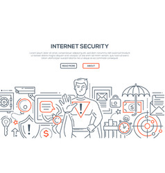 Internet security - modern line design style vector