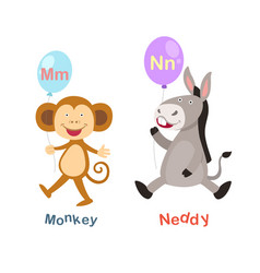 Isolated alphabet letter m-monkeyn-neddy vector