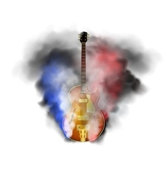 Jazz guitar in smoke vector
