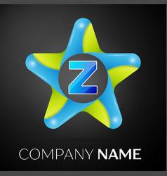 Letter z logo symbol in the colorful star on black vector