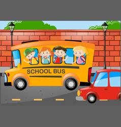 Many children riding on school bus vector