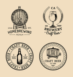 old brewery logos set kraft beer retro signs with vector image vector image
