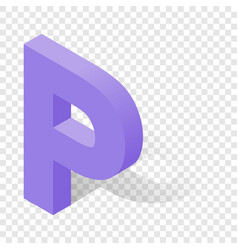 P letter in isometric 3d style with shadow vector