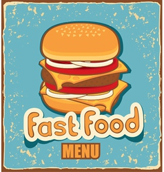 retro cheeseburger vector image vector image