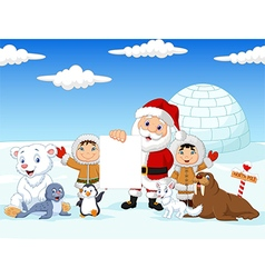 Santa claus holding blank sign with friends vector