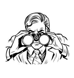 Sentinel watchman with binoculars line art vector