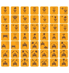 Set of barbecue and brazier icons vector