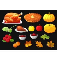 Set of element for Happy Thanksgiving Day on black vector image vector image
