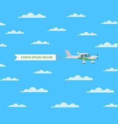 Small screw aircraft with banner in sky vector