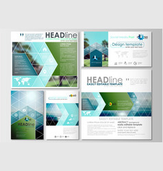 Social media posts set business templates cover vector