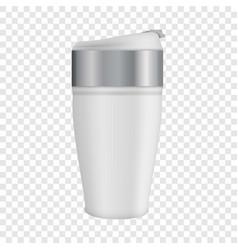White thermos mug mockup realistic style vector