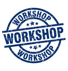 Workshop blue round grunge stamp vector