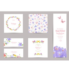 collection of greeting cards with a crocus for vector image
