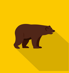 grizzly bear icon flat style vector image