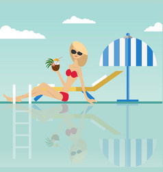 Fashion woman sitting at swimming pool vector