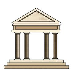 Drawing bank building facade financial investment vector