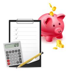 Big pink moneybox coins note pen and calculator vector