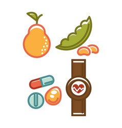 Fruits and different pills vector