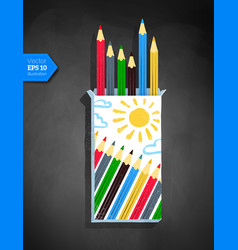 Top view of color pencil box vector