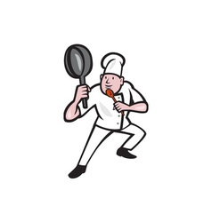 Chef cook holding frying pan kung fu stance vector
