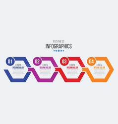4 steps timeline infographic template with arrows vector image