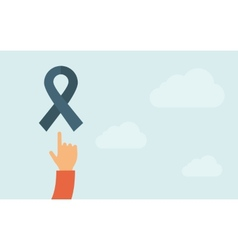 Hand pointing to a freedom ribbon icon vector