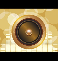 Gold speaker with equalizer background and glowing vector