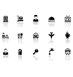 Hotel icons set with reflection silhouette vector