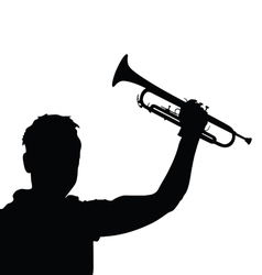 man with trumpet black vector image