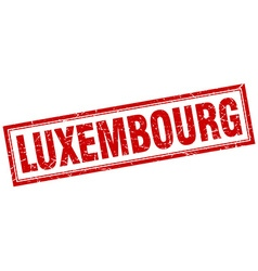 Luxembourg red square grunge stamp on white vector