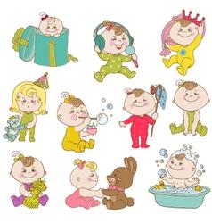 Baby girl cute doodle set vector