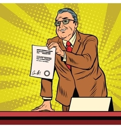 Business boss with a contract vector image vector image