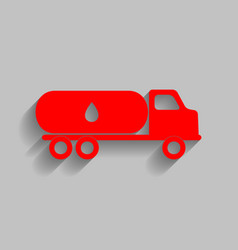 Car transports oil sign red icon with vector
