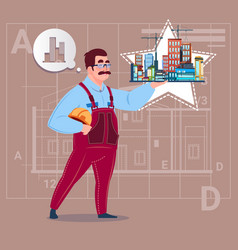 cartoon builder holding small house ready real vector image