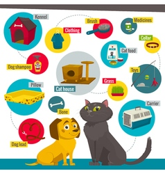 Cat and dog care items pet shop infographics vector