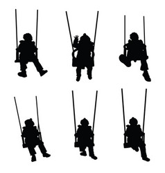 Child silhouette on the swing is having fun vector