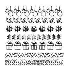 Christmas hand drawn set of line frames vector