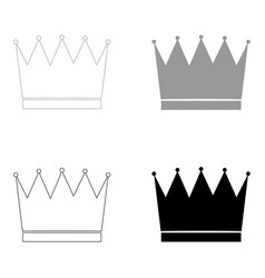 Crown the black and grey color set icon vector