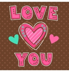 Cute girlish with hearts vector image