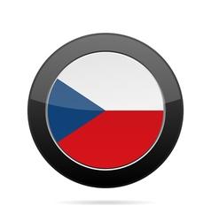 Czech republic flag shiny black round button vector