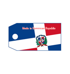 Dominican republic flag on price tag with word vector