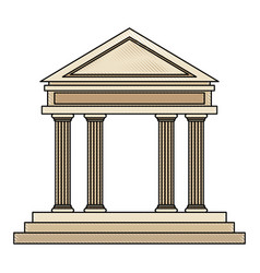 drawing bank building facade financial investment vector image vector image